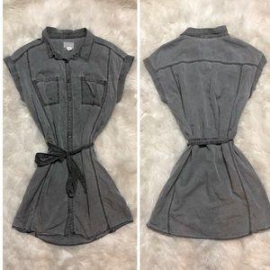 Caslon Gray Tencel Denim Cargo Shirt Button Dress